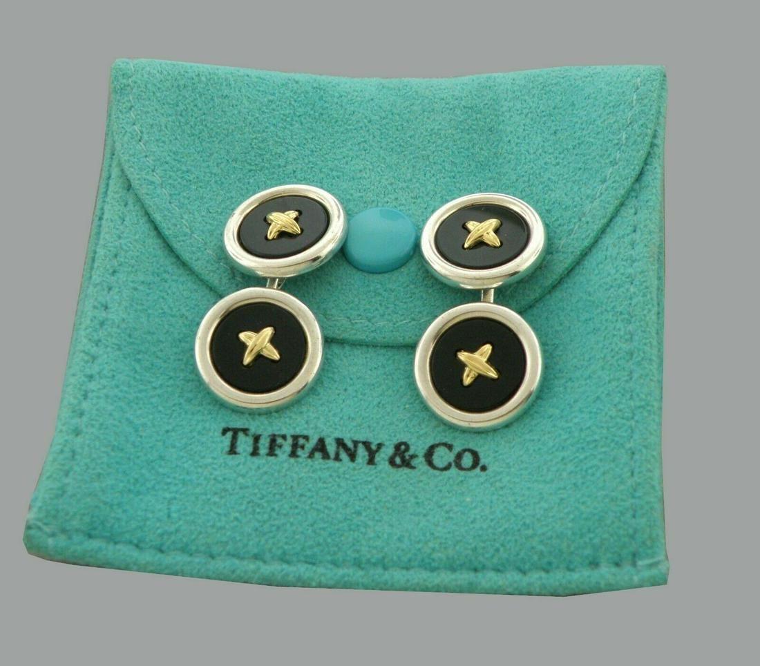 TIFFANY & CO. 18K GOLD STERLING ONYX BUTTON CUFFLINKS