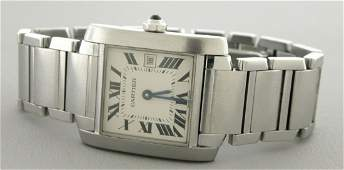 CARTIER TANK FRANCAISE MID SIZE STEEL DATE WATCH