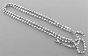 BALL MOON CHAIN STERLING SILVER ITALIAN NECKLACE 3mm