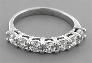 18K GOLD DIAMOND 7 STONE WEDDING BAND RING 1ct ANY SIZE