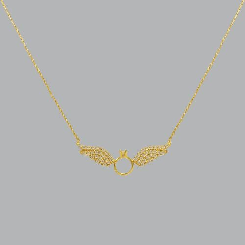 14K YELLOW GOLD LADIES FANCY CZ NECKLACE WINGS