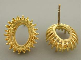 NEW 14K YELLOW GOLD LARGE OVAL HALO EARRING MOUNT HEAVY