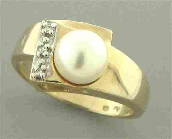 SOLID 14K YELLOW GOLD 7mm PEARL DIAMOND LADIES RING