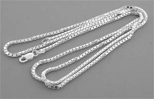 """NEW STERLING SILVER 2mm WIDE BOX CHAIN NECKLACE 20"""""""