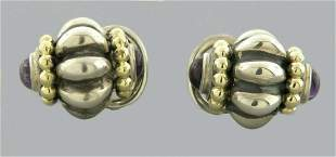 LAGOS CAVIAR 18K GOLD STERLING SILVER AMETHYST EARRINGS