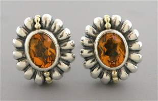LAGOS CAVIAR 18K GOLD STERLING SILVER CITRINE EARRINGS
