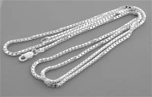 """NEW STERLING SILVER 2mm WIDE BOX CHAIN NECKLACE 24"""""""
