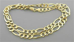 """NEW 14K YELLOW GOLD FIGARO CHAIN NECKLACE - 8MM -26"""""""
