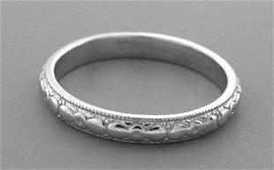 VINTAGE PLATINUM RING ETERNITY WEDDING BAND SIZE 7
