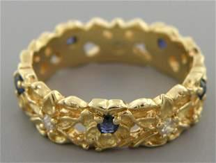 14K GOLD DIAMOND SAPPHIRE RING WEDDING BAND