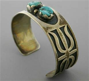 VINTAGE CHARLIE BOWIE NAVAJO SILVER TURQUOISE CUFF