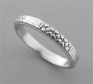 VINTAGE PLATINUM RING FULL ETERNITY WEDDING BAND SIZE 7