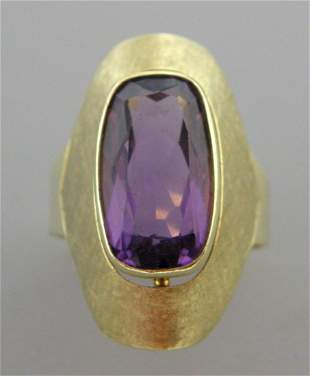 VINTAGE 14K YELLOW GOLD CUSHION AMETHYST COCKTAIL RING