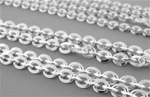 OVAL KNIFE EDGE CHAIN STERLING SILVER ITALY NECKLACE 30