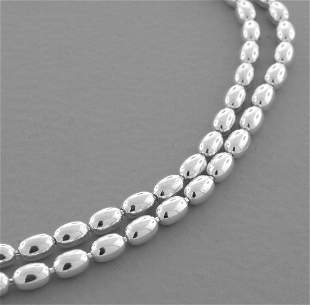 """OVAL BEAD CHAIN STERLING SILVER NECKLACE 3mm - 20"""""""
