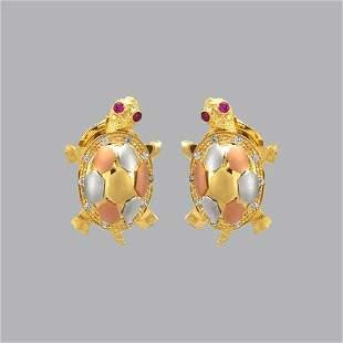 14K TRI COLOR GOLD LADIES FANCY TURTLE CZ STUD EARRINGS