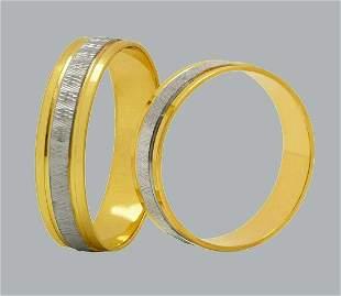 14K TWO TONE GOLD WEDDING BAND RING DIAMOND CUT 5mm- 11