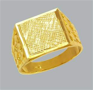 NEW 14K YELLOW GOLD MENS NUGGET LARGE RING BAND
