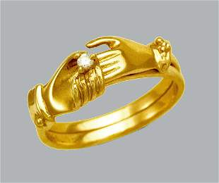 NEW 14K YELLOW GOLD LADIES CZ HOLDING HANDS RING