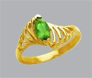 NEW 14K YELLOW GOLD LADIES FANCY CZ RING GREEN MARQUISE