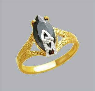 14K TWO TONE GOLD LADIES FANCY CZ RING BLACK MARQUISE