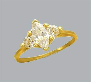 14K YELLOW GOLD CZ SOLITAIRE ENGAGEMENT RING MARQUISE