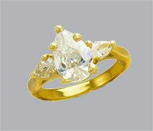 14K YELLOW GOLD CZ SOLITAIRE ENGAGEMENT RING PEAR SHAPE