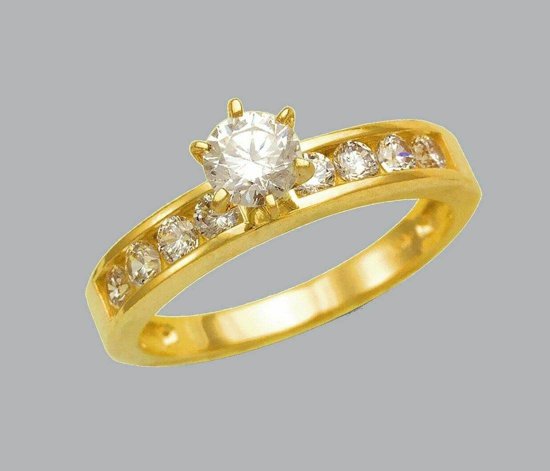 NEW 14K YELLOW GOLD LADIES FANCY ENGAGEMENT RING