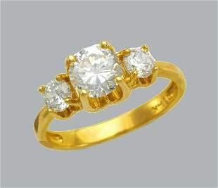 14K YELLOW GOLD LADIES FANCY ENGAGEMENT RING 3 STONE