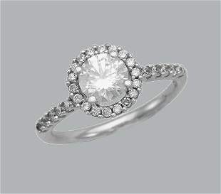 14K WHITE GOLD ENGAGEMENT RING SOLITAIRE HALO ROUND