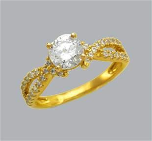 14K YELLOW GOLD LADIES ENGAGEMENT RING SPLIT SHANK