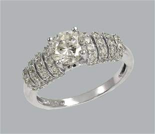 NEW 14K WHITE GOLD LADIES FANCY ENGAGEMENT RING