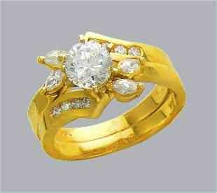 14K YELLOW GOLD LADIES CZ ENGAGEMENT RING MATCHING BAND