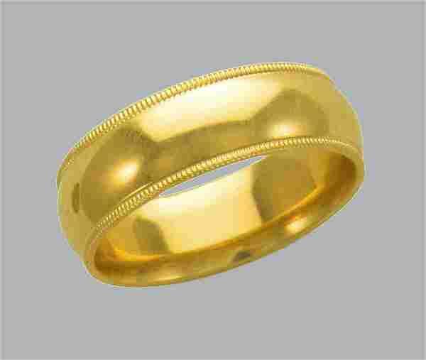 14K Y/GOLD MILLIGRAIN WEDDING BAND RING COMFORT FIT 7mm