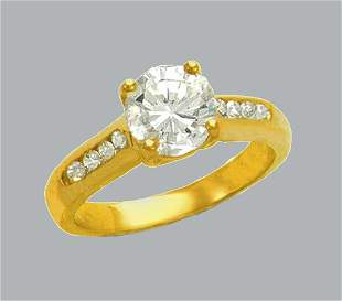 14K YELLOW GOLD LADIES FANCY ENGAGEMENT RING ROUND