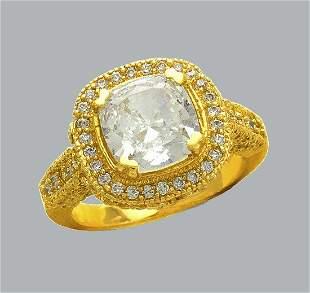 14K YELLOW GOLD CZ ENGAGEMENT RING FILIGREE HALO