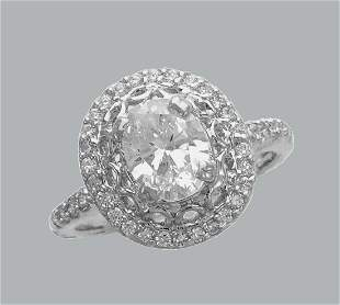 NEW 14K WHITE GOLD CZ ENGAGEMENT RING OVAL HALO