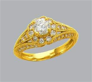 14K YELLOW GOLD FANCY CZ ENGAGEMENT RING FILIGREE