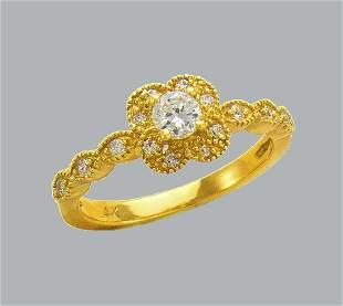 14K YELLOW GOLD CZ ENGAGEMENT RING FILIGREE FLOWER