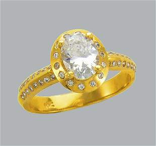 14K YELLOW GOLD FANCY CZ ENGAGEMENT RING OVAL HALO