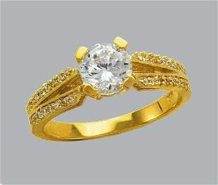 NEW 14K YELLOW GOLD LADIES CZ ENGAGEMENT RING