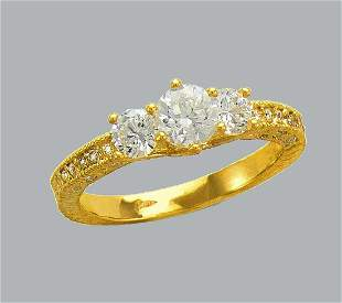 NEW 14K YELLOW GOLD LADIES FANCY CZ ENGAGEMENT RING