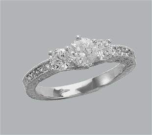 NEW 14K WHITE GOLD LADIES FANCY CZ ENGAGEMENT RING