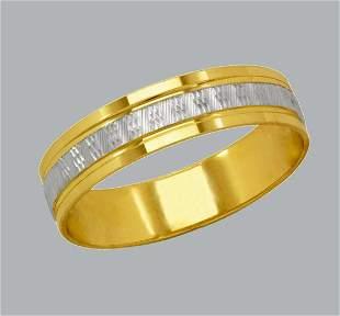 14K TWO TONE GOLD WEDDING BAND RING DIAMOND CUT 5mm - 7
