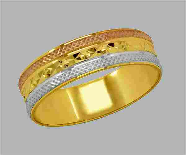 14K TRI COLOR GOLD WEDDING BAND RING DIAMOND CUT 5mm- 7