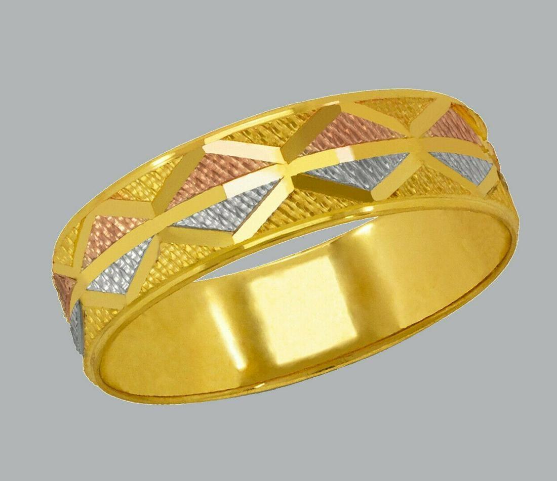 14K TRI COLOR GOLD WEDDING BAND RING DIAMOND CUT 6mm- 7