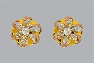 NEW 14K TWO TONE GOLD FLOWER CZ SET EARRINGS