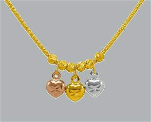 NEW 14K TRI COLOR GOLD FANCY HEART CHARM NECKLACE HEART