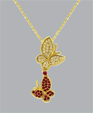 NEW 14K YELLOW GOLD LADIES FANCY CZ NECKLACE BUTTERFLY