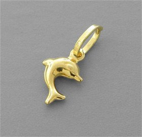 14K YELLOW GOLD DOLPHIN CHARM PENDANT POLISHED SMALL